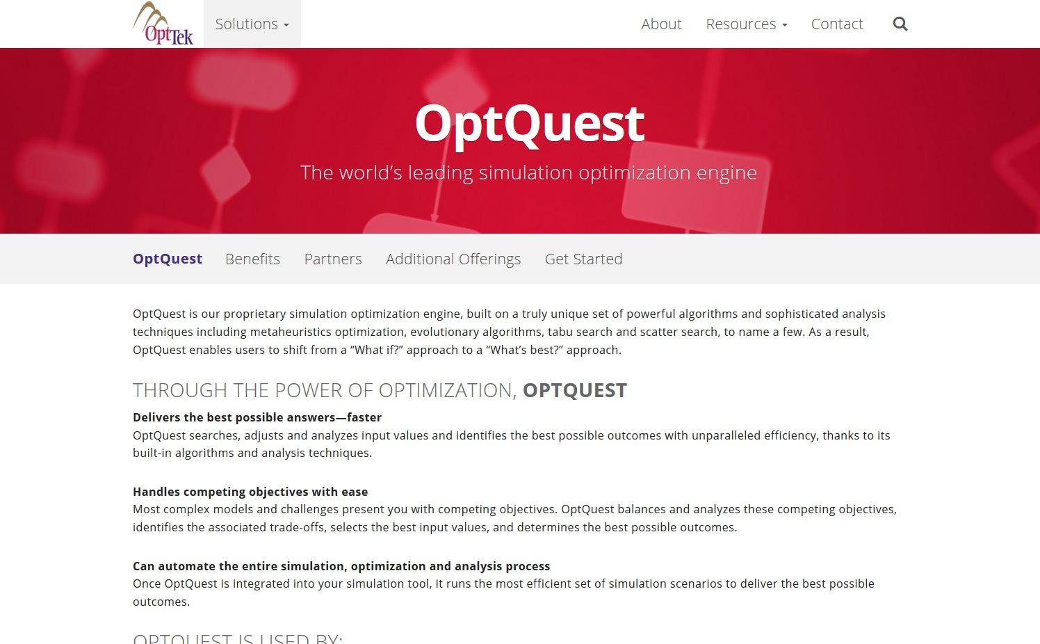 the world s leading simulation optimization engine optquest opttek
